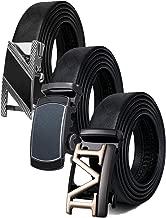 Mens Ratchet Dress Belt, with 3 Automatic Buckles Genuine Leather Belt Black Adjustable