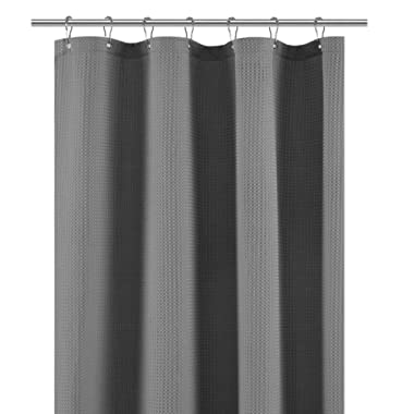 Stall Shower Curtain Fabric 36 x 72 inches, Waffle Weave, Spa, Hotel Collection, 230 GSM Heavy Duty, Water Repellent, Gray Pique Pattern Decorative Bathroom Curtain