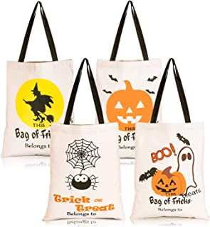 Whaline 4 Pack Halloween Tote Bags, Reusable Trick or Treat Candy Sack Bags, Large Canvas DIY Craft Bag for Party, Shopping, Market, 14 x 17 Inch