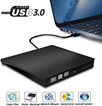 External CD DVD Drive USB 3.0 Portable 5.0GBPS Fits for DVD-R DVD-RW DVD+R DVD+RW DVD-ROM Super Speed Data Transfer Compatible for all Brands and Operating Systems of Laptops Windows MAC Black