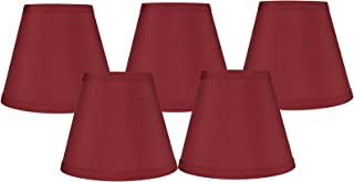 Meriville Set of 5 Burgundy Faux Silk Clip On Chandelier Lamp Shades, 3-inch by 5-inch by 4.75-inch