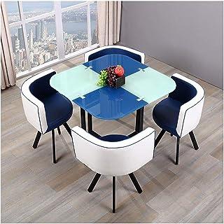 Mesa de comedor Juego de muebles Mesas y Sillas Cjiaxin vidrio templado Cocina casera Mesa de comedor de 5 piezas silla del ocio Mesa redonda de la PU del cuero de la vendimia La negociación de negoci