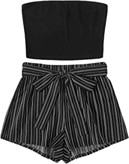 SweatyRocks Women`s Sexy 2 Piece Outfits Striped Bandeau Tube Crop Top with Shorts Set