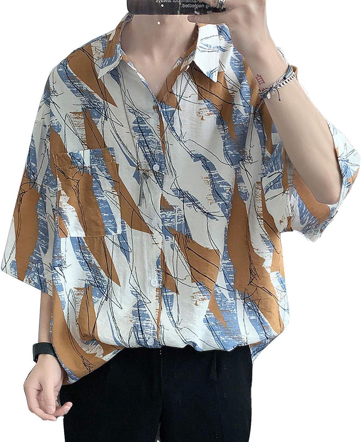 PEHMEA Men's Loose Shirt Casual Short Sleeve Button Down Floral Printed Beach Shirts
