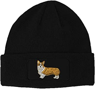 Pembroke Welsh Corgi Dog #2 Embroidered Unisex Adult Acrylic Patch Beanie Warm Hat - Black, One Size