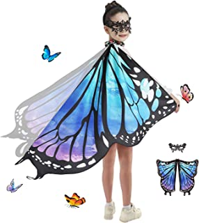 Butterfly Wings Costume for Girls Kid Fairy Wing Halloween Costumes Dress Up Shawl