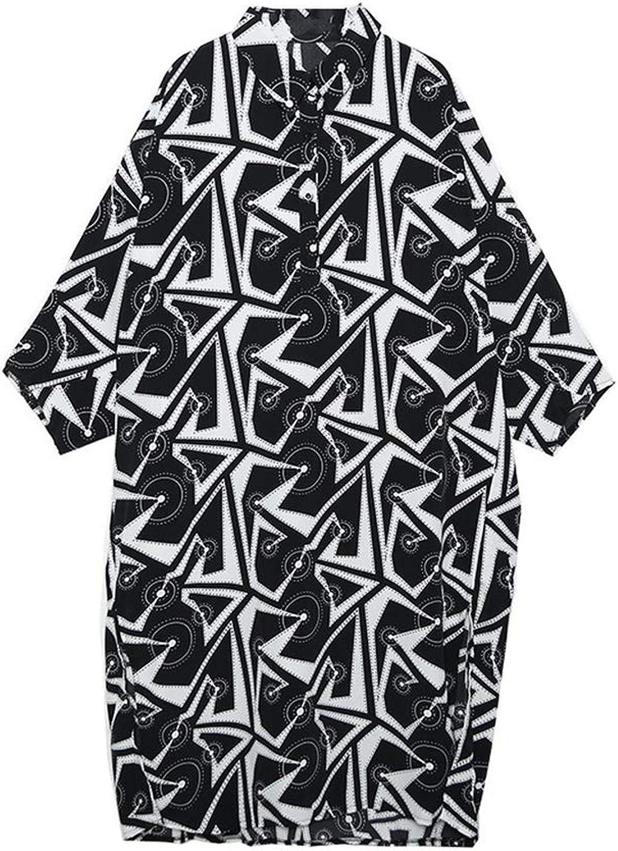 Stand Collar Long Sleeve Black Pattern Printed Loose Long Big Size Thin Dress