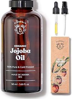 HUILE DE JOJOBA BIO | 100% Pure, Naturelle & Pressée à Froid | Visage, Corps, Cheveux, Barbe, Ongles | Vegan & Cruelty Fre...