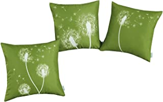CaliTime Set of 3 Soft Canvas Throw Pillow Covers Cases for Couch Sofa Home Decoration 18 X 18 Inches Solid Dandelion Print Olive Green
