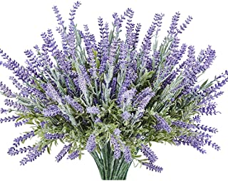 TEMCHY Artificial Lavender Plant with Silk Flowers Bouquet for Wedding Decor and Table Centerpieces, Indoor Outdoor Decoration - 4 Piece Bundle