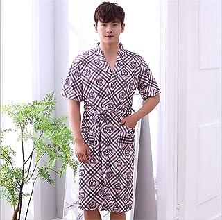 メンズパジャマパジャマ浴室半袖夏豪華な柔らかいローブナイトガウンバスローブ