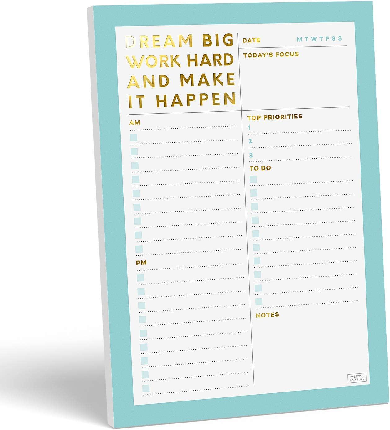 Sweetzer Max 73% OFF Orange Low price Dream Big Daily Notepad. Planner Plann Undated