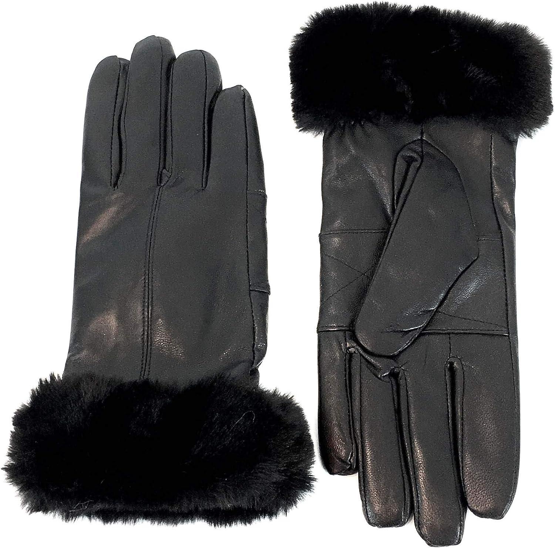 Surell Leather Glove with Faux Rex Rabbit Fur Trim - Winter Mittens