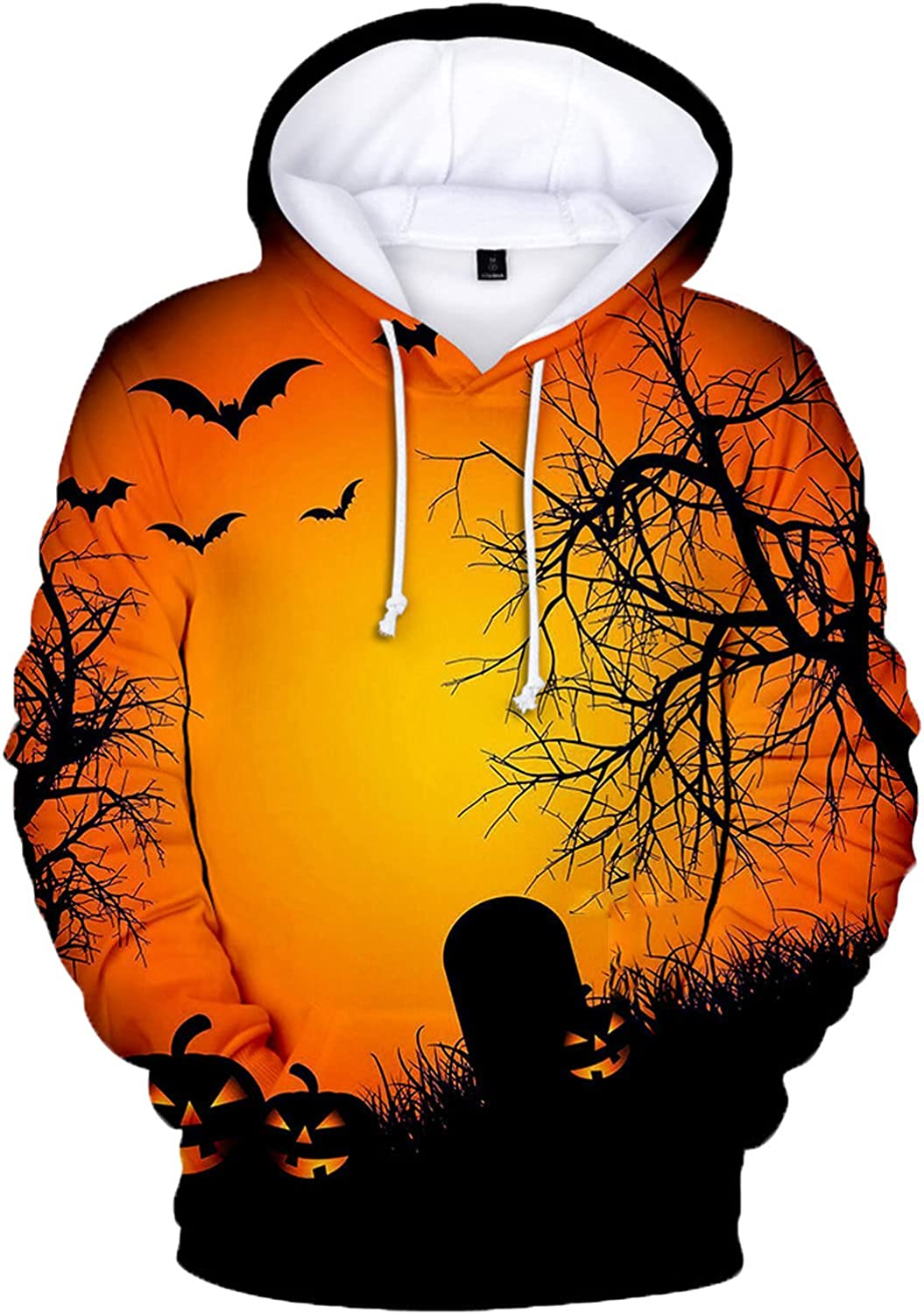 Bravetoshop Men's 3D Printed Pullover Tops Novelty Graphic Street Fashion Hooded Sweatshirts for Halloween