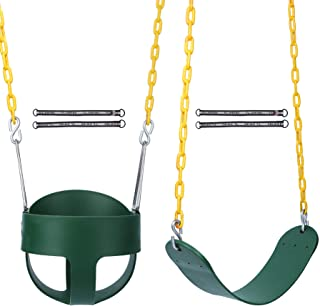RedSwing High Back Full Bucket Swing with Heavy Duty Swing Seat Combo Pack (Triangle and Chain Dip), Tree Straps Included