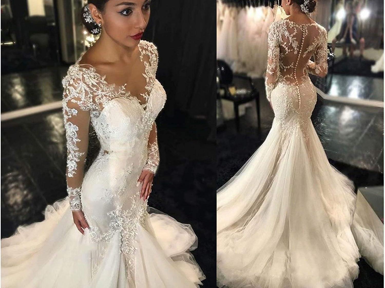 Buy Chady Elegant Lace Mermaid Wedding Dresses for Bride 18 Long ...