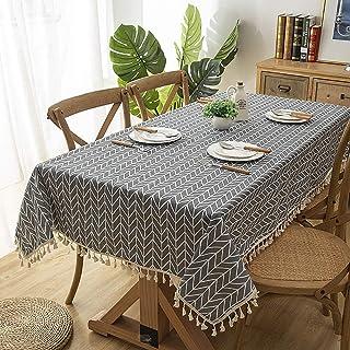Tassel Nappe Coton Linge de table en tissu rural moderne Minimaliste Nappe Accueil Cuisine Table à manger Table couverture...
