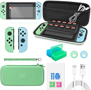 Accessories Bundle for Nintendo Switch Animal Crossing, 12 in 1 Accessories Kit with Carrying Case, Screen Protector, Sili...