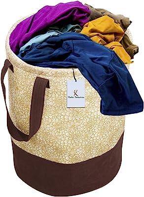 Kuber Industries Metalic Printed Waterproof Canvas Laundry Bag, Toy Storage, Laundry Basket Organizer 45 L (Brown) CTKTC034617