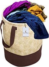 Kuber Industries Metalic Printed Waterproof Canvas Laundry Bag, Toy Storage, Laundry Basket Organizer 45 L (Brown) CTKTC134617