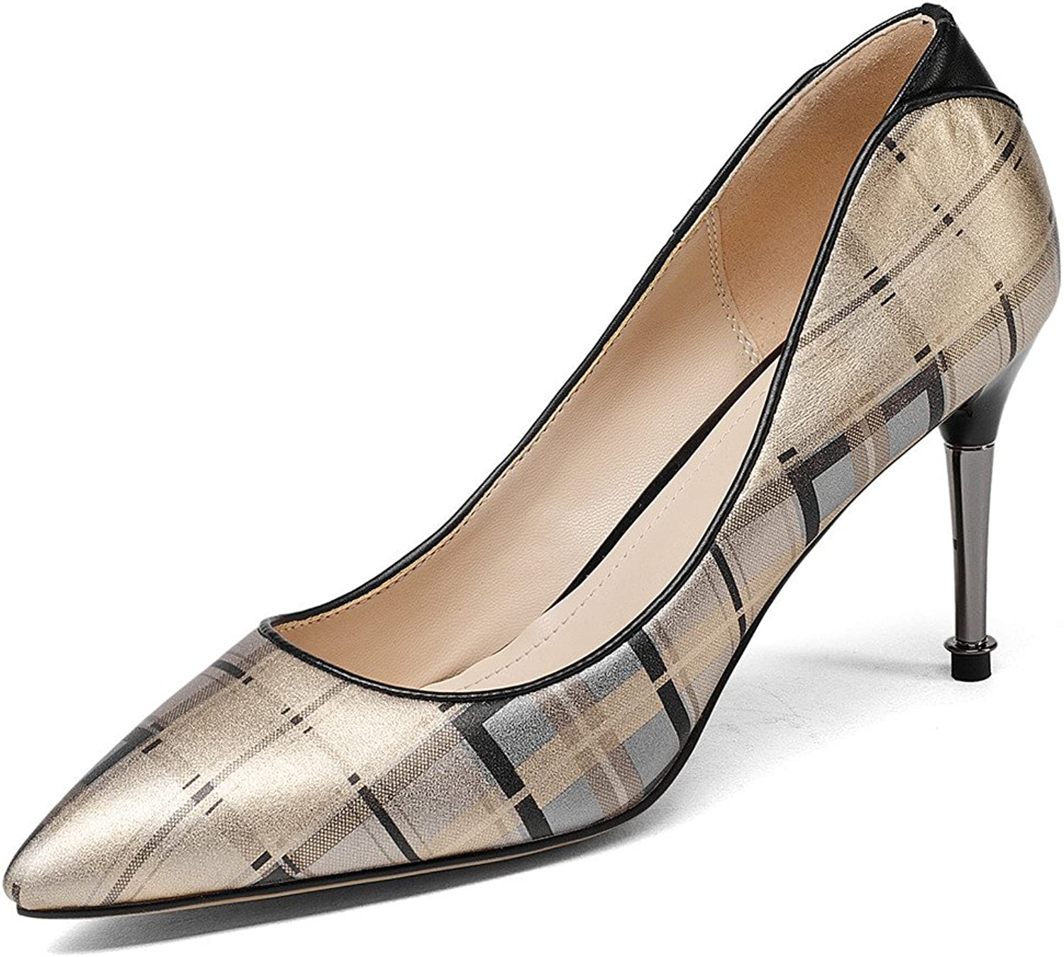 Nine Seven Genuine Leather Women's Pointed Toe Stiletto Heel Fashionable Plaid Handmade gold Pump shoes