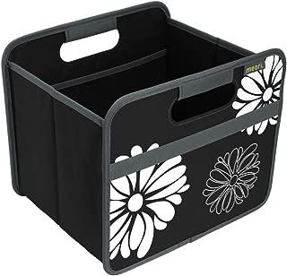 meori Lava Black with Flowers Foldable Box Classic Small Bedroom Bath Shelf Organizer Storage Towels Laundry Yoga Equipment, 10.43x12.6x10.83inches