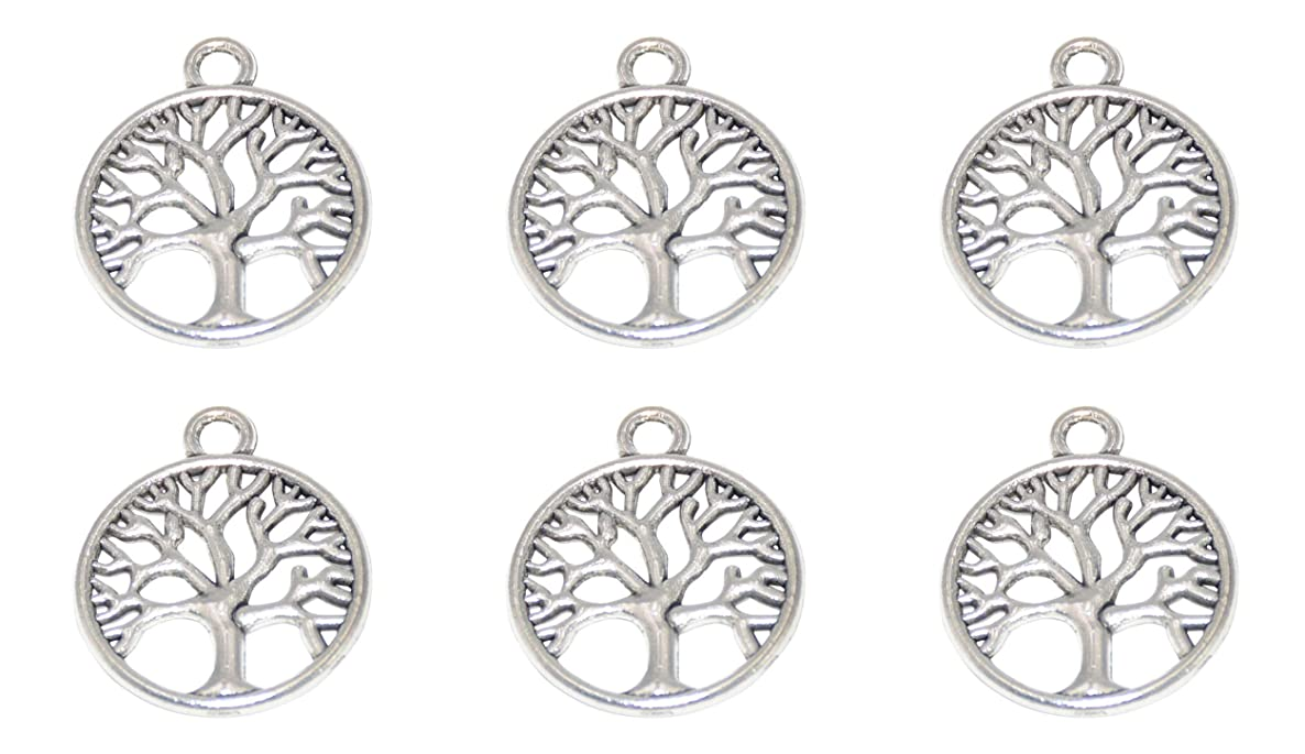 Yansanido Pack of 50 Round Tree Charms Pendants for Making Bracelet and Necklace (Tree 50pcs Silver)