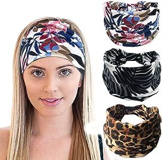 K-Elewon 3 Pack Women Wide Elastic Head Wrap Turban Headband Sports yoga Hair Band