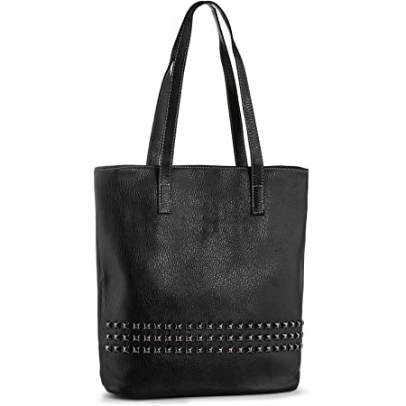 Vegan Leather Womens Tote Bag Shopper Bag Fashion Rivets Handbags for Ladies Big Top Handle Shoulder Bags for Work Shopping College Black