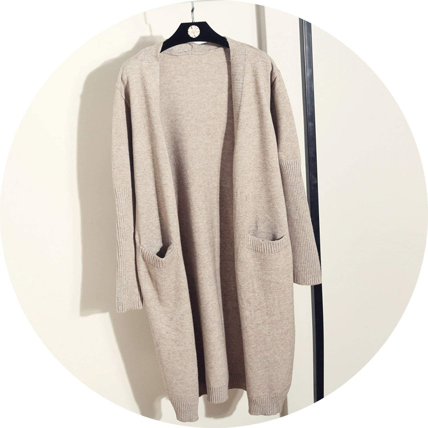 colorfulspace Cashmere Cardigans Women Casual Pockets Solid Chunky Sweater Open Front Thread Sleeve Loose Long Cardigan