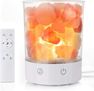 Himalayan Salt Lamp, Natural Hand-Carved Pink Salt Rock Lamp Night Light with Dimmer, Sleep Aid White Noise, Touch & Remote Control Lamp Home Decor