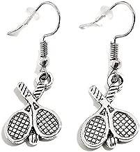 Kit's Kiss Tennis Earrings, Tennis Jewelry, Sports Earrings, Gift for Tennis Players, Gift for Sports Lovers, Tennis Charm, Tennis Dangling Earrings