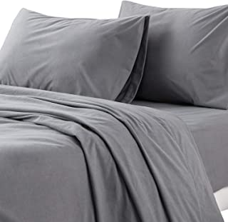Bedsure Flannel Bed Sheet Set-4 Pieces Set- 160Gram-Fuzzy Fleece Surface- Super Warm Soft Sheets-Deep Pockets Fitted-Gray-King Size Bed Sheets