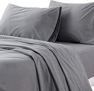 Bedsure Flannel Bed Sheet Set-4 Piece Set-160 Gram-Fuzzy Fleece Surface- Super Warm Soft Sheets-Deep Pockets Fitted-Gray-Queen Size Bed Sheets