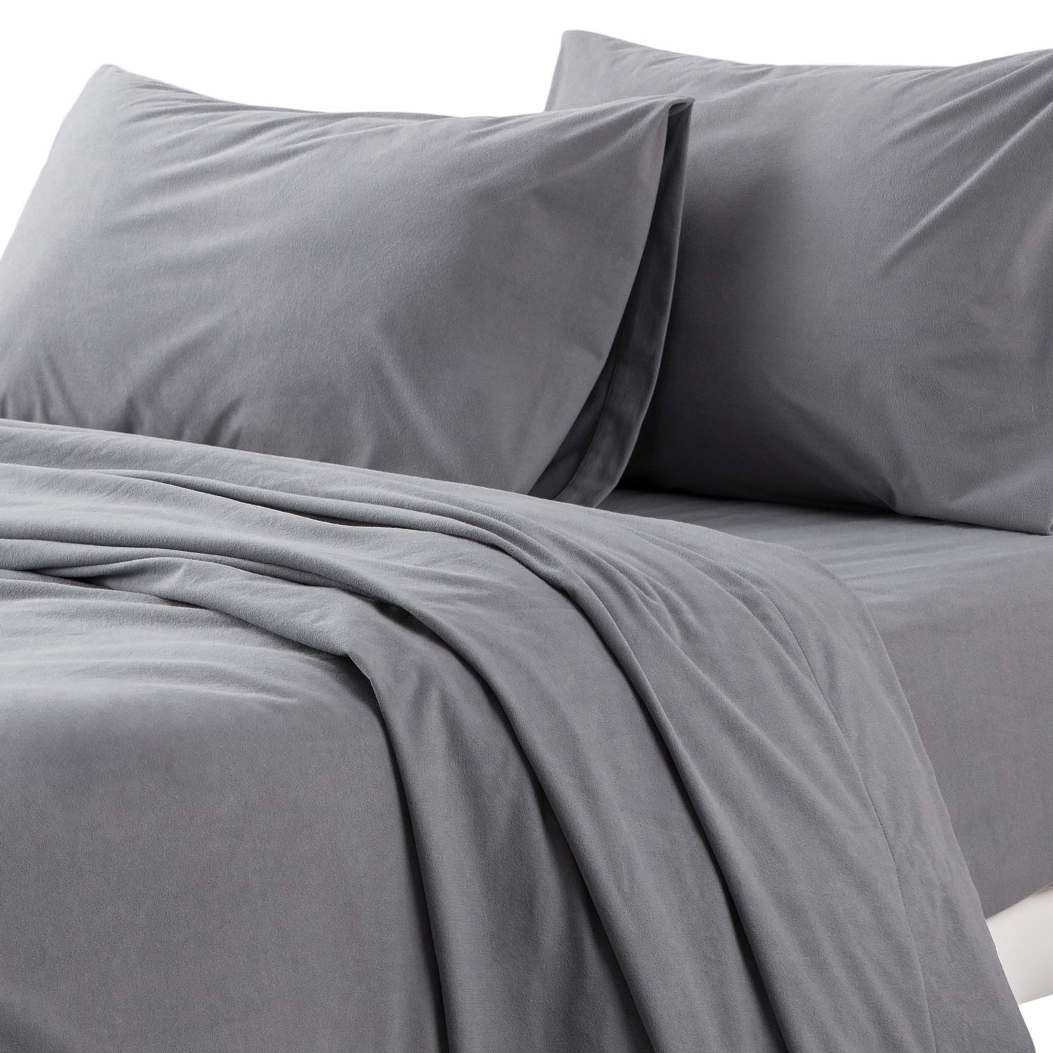 Bedsure Gram Fuzzy Surface Sheets Deep Fitted Gray Queen