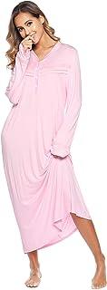 Vlazom Camisón para Mujer Camisa, Vestido de Pijamas con Cuello en V Manga Larga, Ropa de Dormir Suave y Ligero
