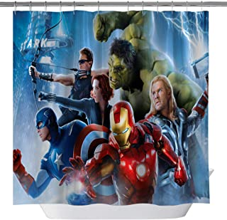 GOODCARE The Avengers Kids and Children Bathroom Decor Cartoon Shower Curtain,Spider-Man Iron Man Green Giant Raytheon Waterproof Fabric Shower Curtains with Hooks, 71x71Inch