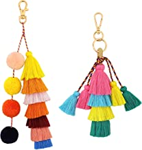 Pompones de bolas de pelo rojo con borlas, Pompones, cuentas de colores, bolso para mujer, abalorios, Pompones bohemios, accesorio para llaveros,