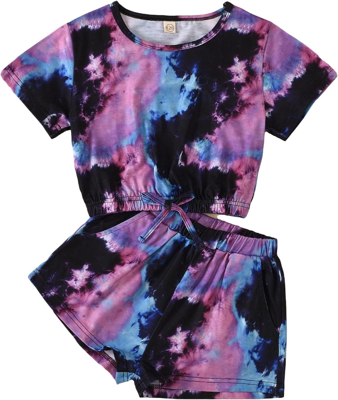Little Girls Summer Outfit Set Tie-Dye Round Collar Short Sleeve Top T-Shirt+Elastic Drawstring Shorts 2Pcs Set Clothes