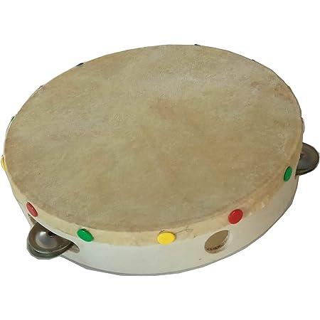 Pandereta aprendizaje, madera chapeada, piel artificial y 5 elementos sonoros. Ideal para fiestas alocadas