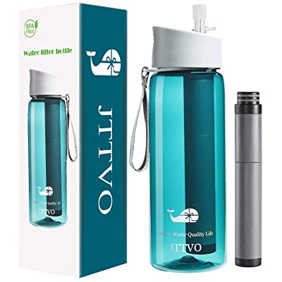 JTTVO Filtered Water Bottle with 2 Stage Replac...