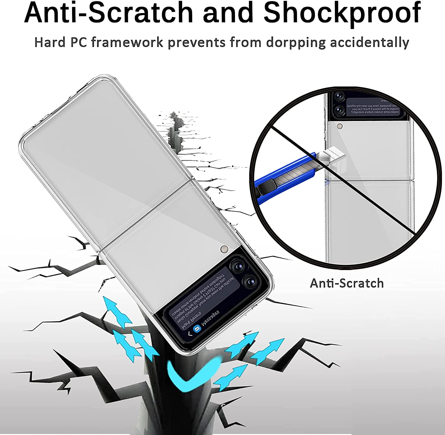 Miimall Compatible with Samsung Galaxy Z Flip 3 2021 Case, Shockproof and Anti-Scratch Slim Thin Hard PC Bumper Protective Transparent Bumper Case for Samsung Galaxy Z Flip 3 Flip 3 5G 2021(Clear)