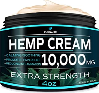Purganic Pain Relief Hemp Cream - Natural Hemp -Cream for Inflammation, Muscle, Joint, Back, Knee, Nerves & Arthritis Pain - 4OZ - Made in USA - Non-GMO