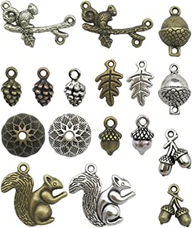 Youdiyla 100g Happy Squirrel Charms Collection - Mixed Antique Silver Bronze Squirrel Pine Cone Acorns Bead Caps Leaf Connector Metal Pendants for Jewelry Making DIY Findings (HM18)