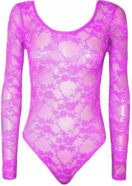 Rimi Hanger Women Scoop Neck Lace Bodysuit Ladies Long Sleeve Fashion Activewear Leotard Top