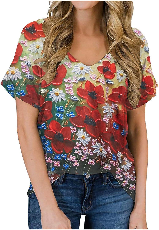 FABIURT Womens Summer Tops,Women Fashion Leopard Printed Short Sleeve V Neck T Shirts Casual Comfortable Blouse Tee Tops