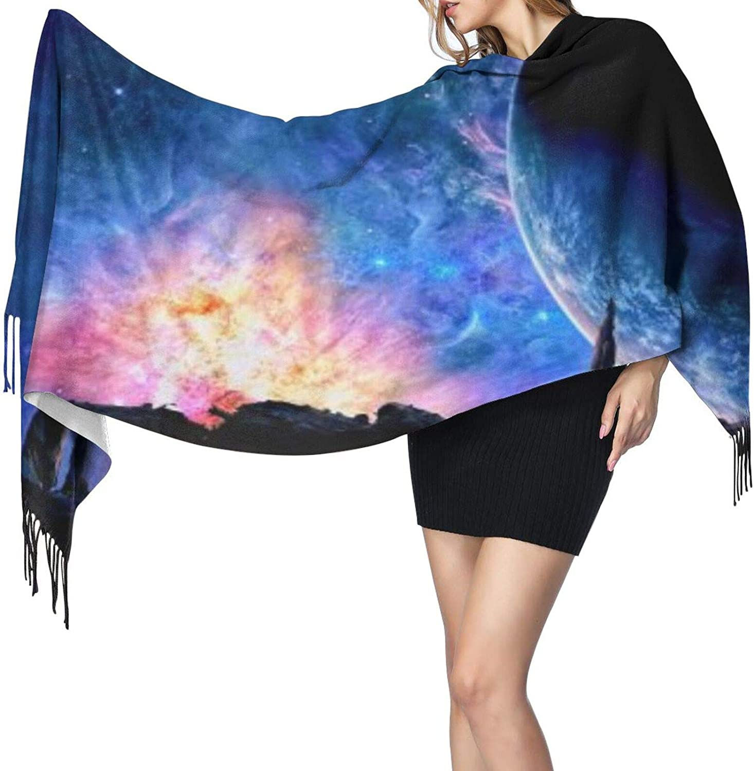 Cashmere fringed scarf Fantasy Galaxy Space winter extra large scarf