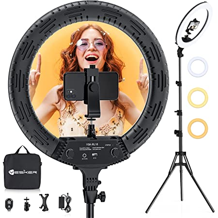 18 Inch Ring Light with Tripod Stand, Yesker LED Ringlight Color Temperature 3200K to 5500K Makeup Ringlights with Tablet Phone Holder for Camera Smartphone Video Streaming Selfie Portrait Shooting