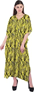 RADANYA Animal Print Women Casual Maxi Kaftan Loose 3/4 Sleeve Cotton Dress Caftan