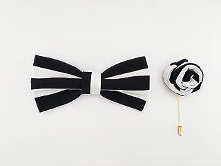 Papillon a righe nero e bianco con spilla da giacca, cuciti a mano